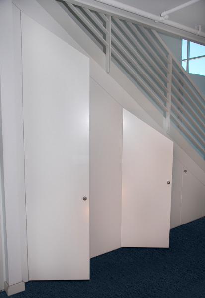 Painted timber wardrobe doors for Door under stairs
